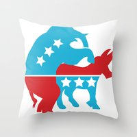 politics Throw Pillows featuring Politics by Mike Stark