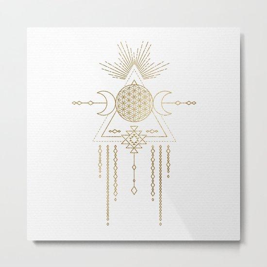 Golden Goddess Mandala Metal Print