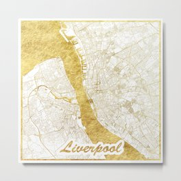 Liverpool Map Gold Metal Print