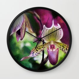Colorful Orchid Wall Clock