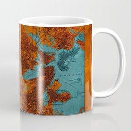 Boston 1893 old map, blue and orange artwork, cartography Coffee Mug