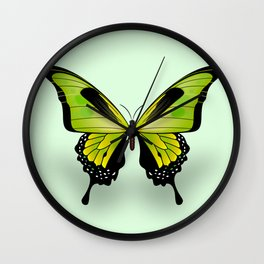 Green Butterfly Wall Clock