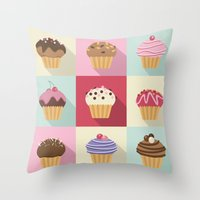 cupcakes Throw Pillows featuring Cupcakes by Rosa Puchalt