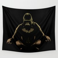 darwin Wall Tapestries featuring Ape Meditating by bronzarino
