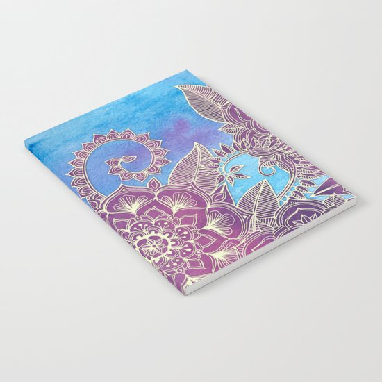 Magnolia & Magenta Floral on Watercolor Notebook