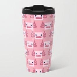 Cute Pastel Pink Axolotls Pattern Travel Mug