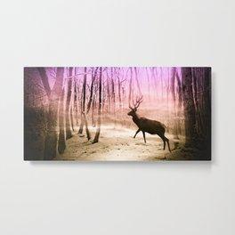 Deer in a foggy forest Metal Print