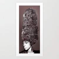 erykah badu Art Prints featuring Erykah Badu by Simone Rohler Art