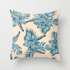 Island Retreat Hibiscus Palm Pastel Coral Teal Blue Throw Pillow