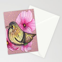 Delicate floral bird on pink and gold raindrop pattern Stationery Cards