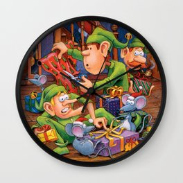 The Elves and Their Little Helpers Wall Clock