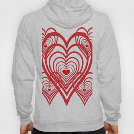 0PTICAL ART RED VALENTINES HEARTS IN HEARTS DESIGN Hoody