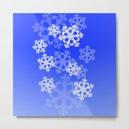 Cute dark blue snowflakes Metal Print
