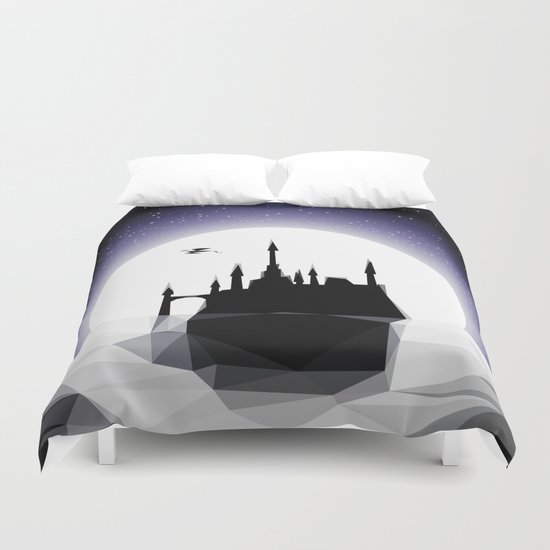 Moonlight Stanza - Night Sea, Castle & the Moon Duvet Cover