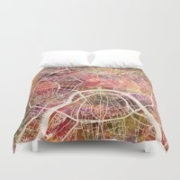 moscow Duvet Covers featuring Moscow Map by MapMapMaps.Watercolors