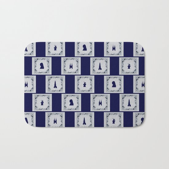 Collage Delft blue tiles Bath Mat