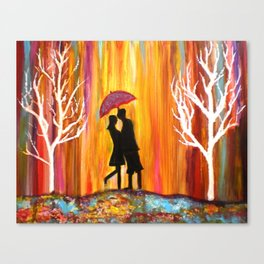 Romance in the Rain I romantic gift art Canvas Print
