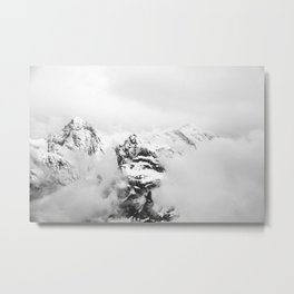 Foggy mountains (Black and white) Metal Print