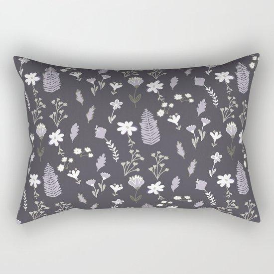 Dark Pastel Violet Flower Pattern Rectangular Pillow