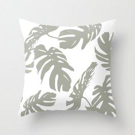 Simply Retro Gray Palm Leaves on White Throw Pillow