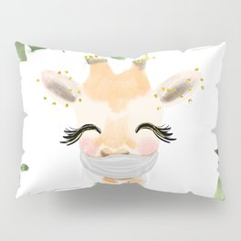Against Virus - Hand Drawn Watercolor Giraffe With Mask Pillow Sham