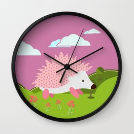 Hedgehog , Purple , flowers , nursery decor Wall Clock