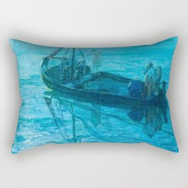 African American Masterpiece 'Disciples See Jesus Walk on Water from Boat' by Henry Ossawa Tanner Rectangular Pillow