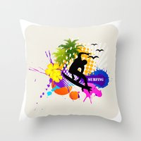 surfing Throw Pillows featuring surfing  by mark ashkenazi