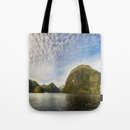 Sunglow over interesting Mountain Range at Doubtful Sound Tote Bag