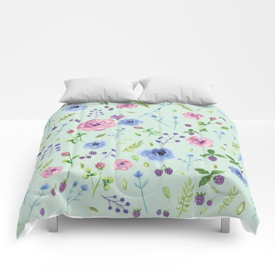 Watercolor flowers on mint Comforters