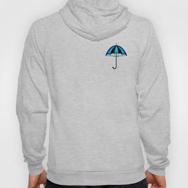 Bright Blue Black Rain Umbrella Illustration Hoody