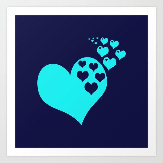 Love Navy Turquoise Art Print