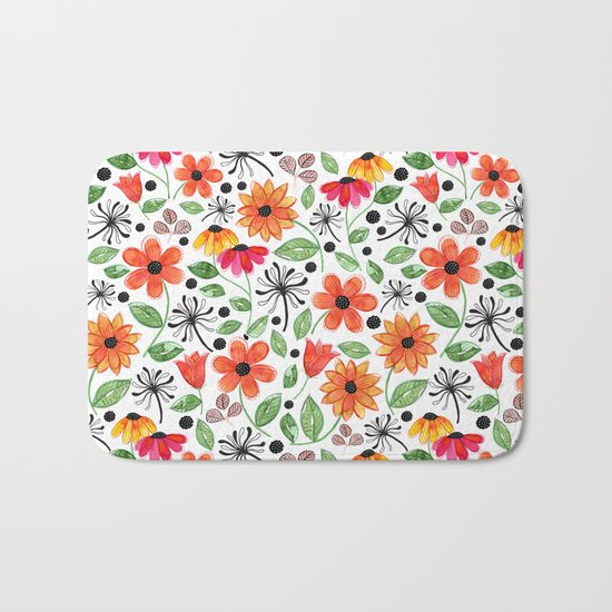 Dandelions & Flowers / White Bath Mat