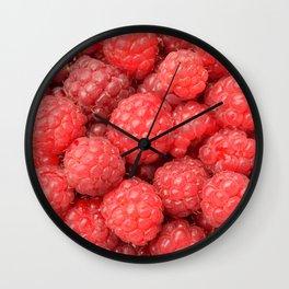 Delicious raspberries food pattern Wall Clock