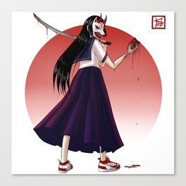 Japanese Demon Masked School Girl Canvas Print