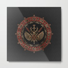 Gungnir - Spear of Odin Black and Red Leather and gold Metal Print