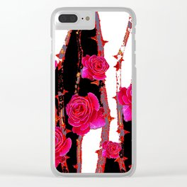 MODERN ART PINK ROSE BLACK & WHITE ART Clear iPhone Case