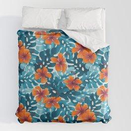 Tropical Hibiscus Pattern Orange Duvet Cover