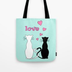 Couple cats with love Tote Bag