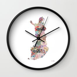 Finland map Wall Clock