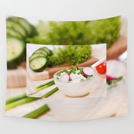 Glass bowl of cottage cheese Wall Tapestry