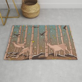 Birch Trees with Birds And Deer Rug