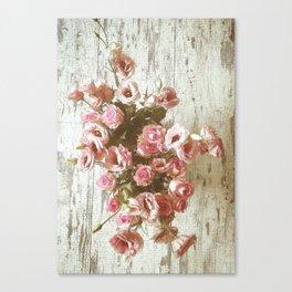 Pretty Pink Pastel Bouquet on worn wood Canvas Print