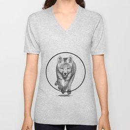 The Fox Running - Animal Drawing Series Unisex V-Neck