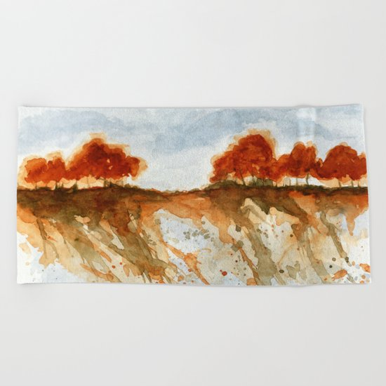Firebranch Ridge, Watercolor Abstract Landscape Art Beach Towel