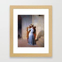 the kiss hayez magritte Framed Art Print