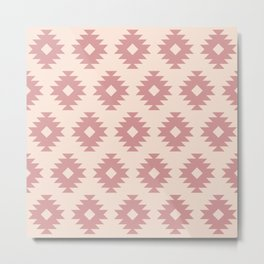 Southwestern Pattern 439 Dusty Rose and Beige Metal Print