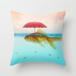 Under Cover Goldfish Throw Pillow