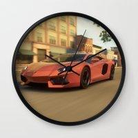 lamborghini Wall Clocks featuring Lamborghini Aventador Speed (Forza) by N_Cvetty