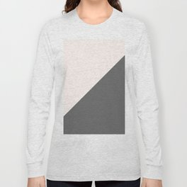 Minimalist blush pink grey color block geometric Long Sleeve T-shirt